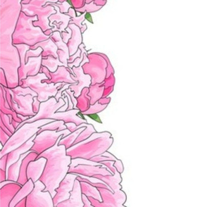 """Large Pink Flowers 8"""" Border for 42"""" Wide Fabric"""