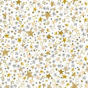 Winter stars Gold christmas