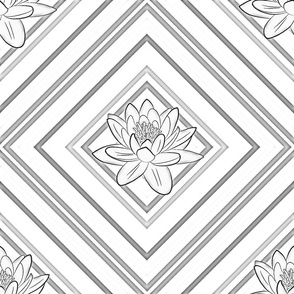 Grey Lotus on Rhombic Line - Pastel Ornament - Large Scale