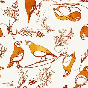 continuous line quail in golden browns