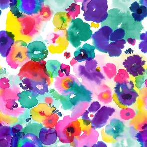 Abstract colorful floral watercolor