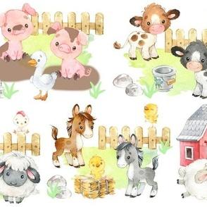 Watercolor Farm Animals Baby Nursery