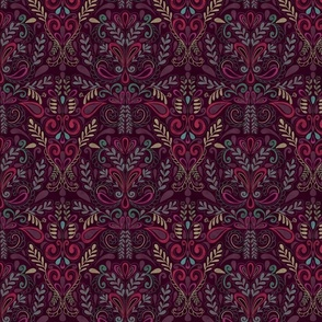 Colorful Red and Purple Damask Inspired