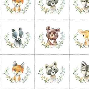 """7"""" Nature Trails animal blocks (FOX, RACCOON, WOLF, BADGER, DEER, BEAR) with dotted cutting lines, DIY quilt"""