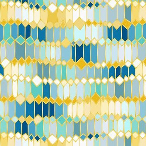 ikat inspired irregular geometry gold and teal / small scale