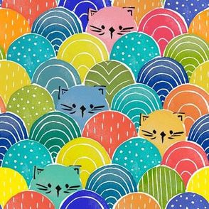 Lino Cut | Geometric stamp | Cats