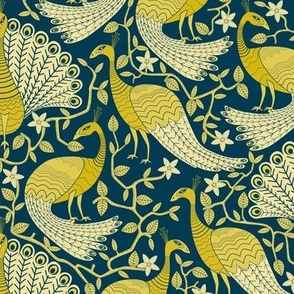 Gold and Navy Peacock Damask