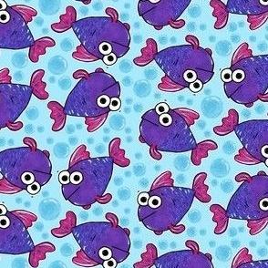 Cute Purple Fish and Bubbles