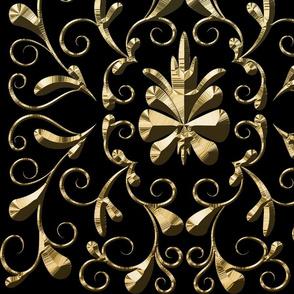 Domassian gold pattern on black background