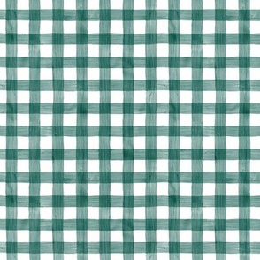 Forest Green Watercolor Gingham