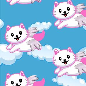Cute White Cat Pink Wings Animal Lovers Pet Owner