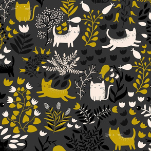 Cats in the Garden - Grey and Yellow