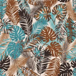 Moody Tropical Leaves brown, cream, teal