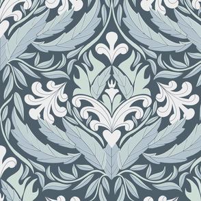 Damask leaf pattern blue