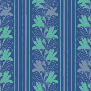 (small scale) palm leaves yellow navy blue tropical striped