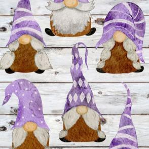 Purple Gnomes on Shiplap - large scale