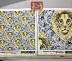 African lion damask, small scale, yellow gray grey slate blue brown taupe white black