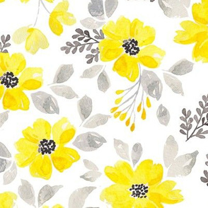 Yellow and gray watercolor flowers