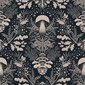 Mushroom forest damask wallpaper dark blue