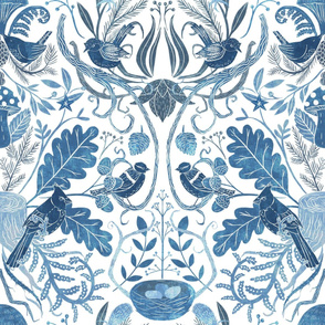Birds in Thicket - Woodland Damask - Blue