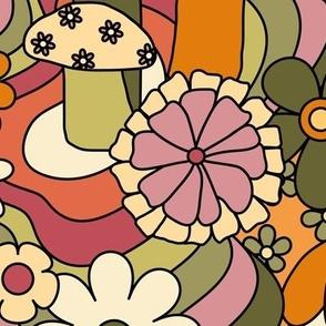 Custom Colorway - Groovy Mushroom Garden in Rusty Orange