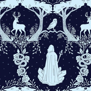 Magic Forest Damask Navy