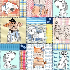 Hand painted Dogs patchwork cheater quilt