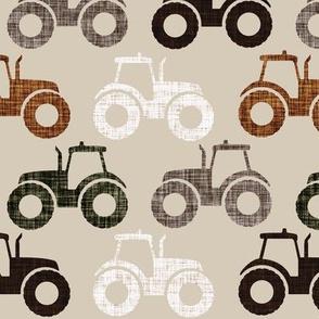 tractors: linen, sugar sand, mud, brown, green olive, umber