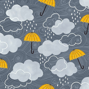 Yellow umbrellas on a stormy day