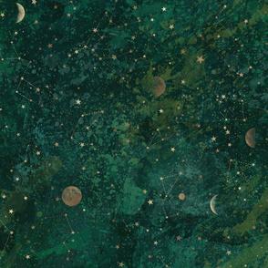 Dark green moon & stars bohemian version ...