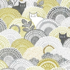 Sunflower Cat- Yellow and Gray Cats- Small