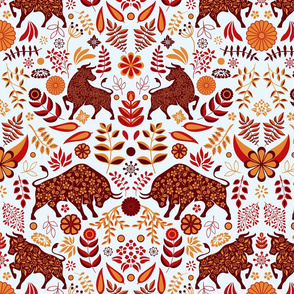 Year of the Ox - orange and red