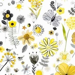 Positive flowers Pantone 2021 Illuminating yellow Ultimate gray