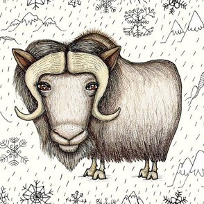 Chinese horoscope / zodiac, year of the ox: the beautiful musk ox, jumbo large scale, white black ivory brown tan neutral rust cream beige earth colors ecru cows
