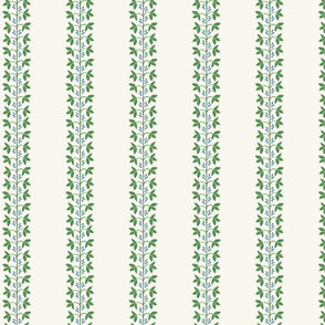 Berry Vine Stripe Blue and Green on Cream