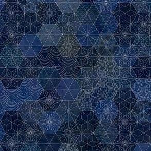 Sashiko Mini- Japanese Patchwork- Geometric Embroidery-Navy- Indigo- Blue- Face Mask- Small Scale