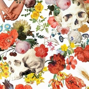 Mystic skulls and antique flowers, skulls fabric,vintage flowers fabric,victorian gothic fabric on white