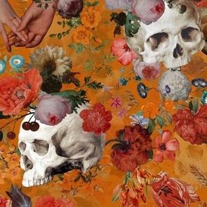 Mystic skulls and antique flowers, skulls fabric,vintage flowers fabric,victorian gothic fabric on orange