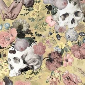 Mystic skulls and antique flowers, skulls fabric,vintage flowers fabric,victorian gothic fabric on sepia yellow