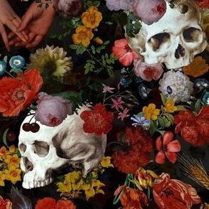 Mystic skulls and antique flowers, skulls fabric,vintage flowers fabric,victorian gothic fabric on black