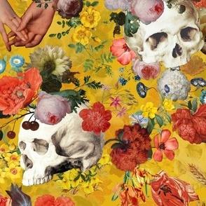 Mystic skulls and antique flowers, skulls fabric,vintage flowers fabric,victorian gothic fabric on sunny yellow