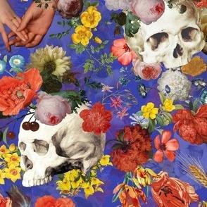 Mystic skulls and antique flowers, skulls fabric,vintage flowers fabric,victorian gothic fabric on summer purple