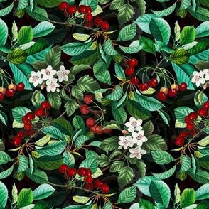 Stone Fruit - Cherry Blossoms And Cherries Summer Magical Garden Black Double layer