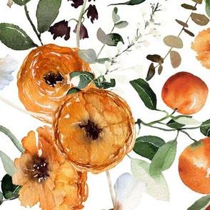 Large / Orange Crush Florals