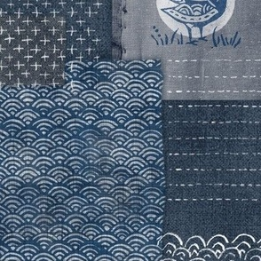 Sashiko Indigo Linen | Japanese stitch patterns on a dark blue linen texture, patchwork, boro cloth, visible mending, kantha quilt in navy blue and gray.