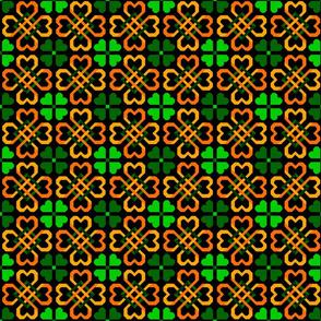 Celtic Hearts Green and Orange on Black