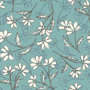 hand drawn floral - blue and brown