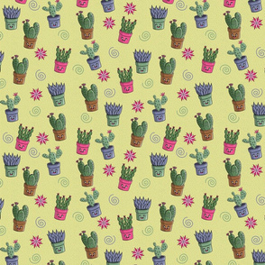 Kawaii Succulents Pattern Small Scale