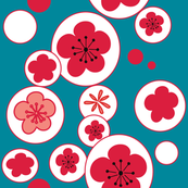 Blue white bubble cherry flowers blossom 60's 70's seamless pattern