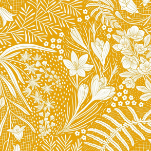 Forest Flowers reimagined paisley pattern mustard yellow large scale